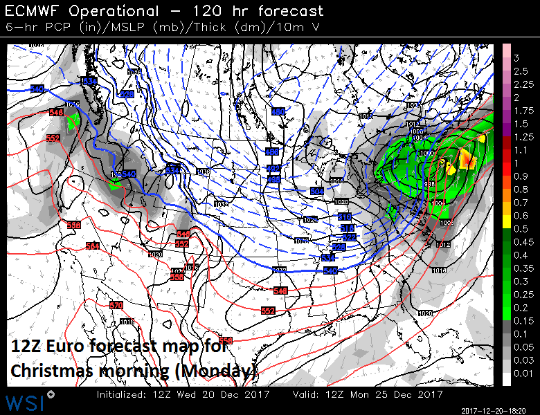 Low pressure along the Northeast US coastline as of Monday morning according to the 12Z Euro; map courtesy WSI