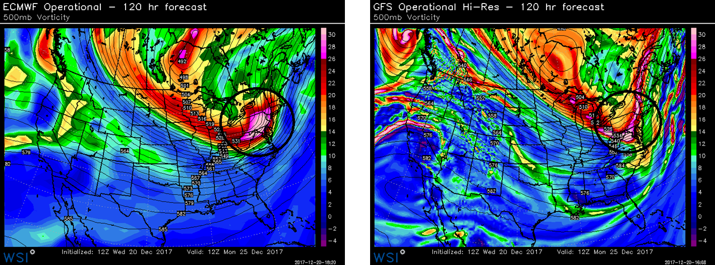 500 mb forecast maps for Monday morning by the Euro model (left) and GFS model (right) with differences in the handling of the upper-level wave of energy; maps courtesy WSI, NOAA/EMC