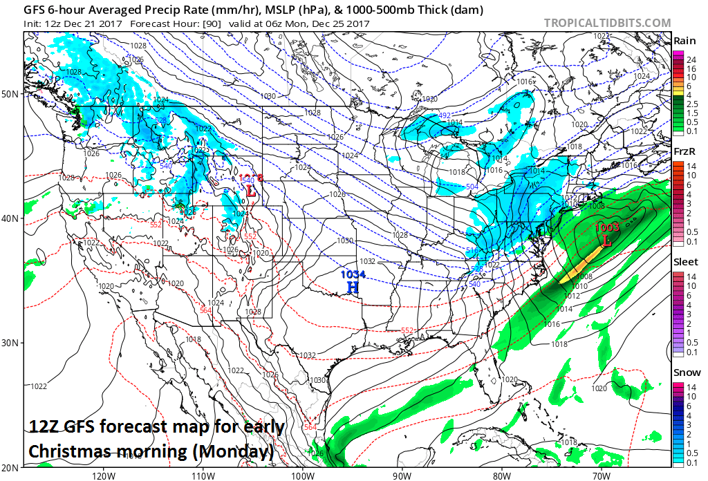 12Z GFS forecast map of surface conditions for early Christmas morning (Monday) with low pressure off the Mid-Atlantic coastline and snow (in blue) in much of the Mid-Atlantic/Northeast US.