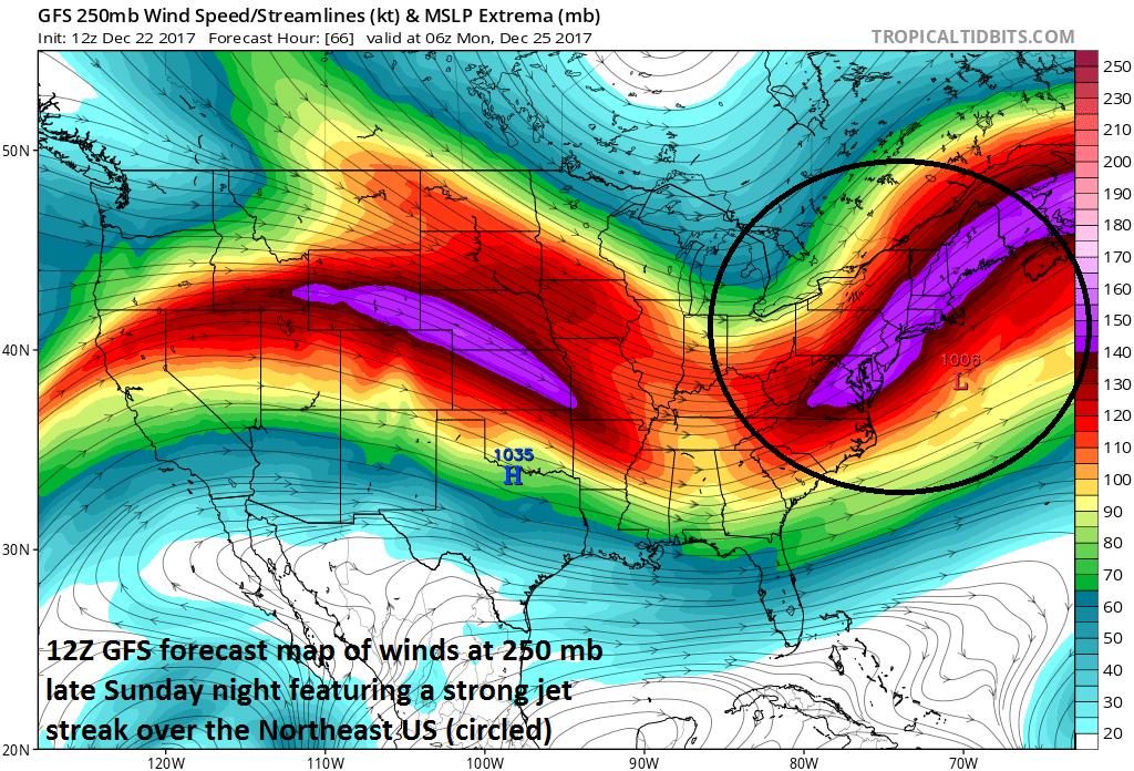 12Z GFS forecast map of an impressive upper-level (250 mb) jet streak late Sunday night which should help generate low pressure off the Mid-Atlantic coastline; map courtesy NOAA/EMC, tropicaltidbits.com