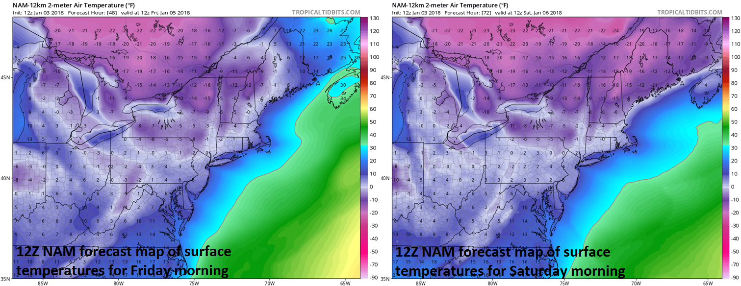 12Z NAM surface temperature forecast maps for Friday morning (left) and Saturday morning (right) with single digit lows in the I-95 corridor; maps courtesy NOAA/EMC, tropicaltidbits.com