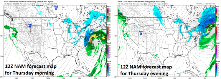 12Z NAM surface forecast maps for tomorrow morning (left) and tomorrow evening (right) with powerful and deepening ocean low pressure causing snow (in blue) in the I-95 corridor; maps courtesy NOAA/EMC, tropicaltidbits.com