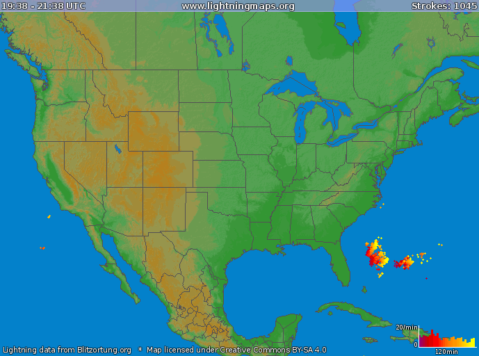 Lightning strikes have increased in general vicinity of low pressure intensification off the SE US coastline.