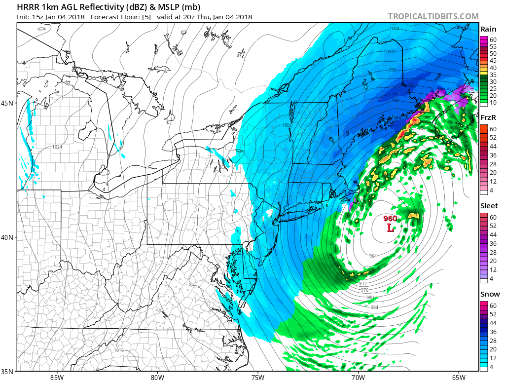3 PM forecast map from high-resolution model (HRRR) with snow winding down in DC-to-Philly corridor.
