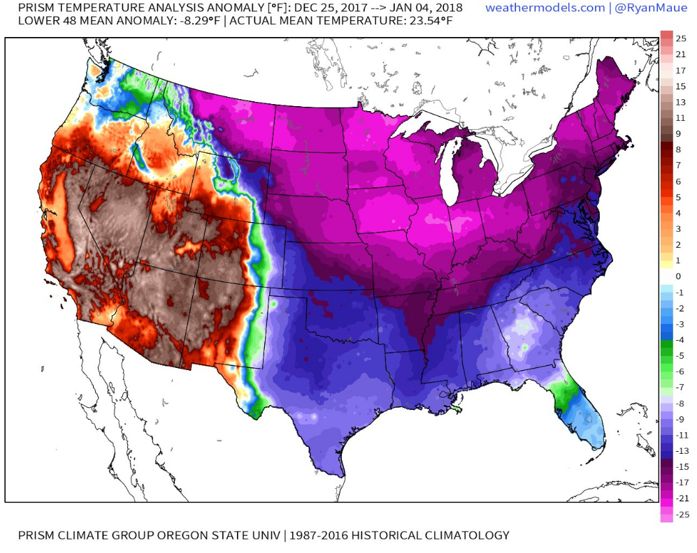 Nationwide temperature anomalies averaged for the ten-day period between Decmber 28th and January 4th; courtesy Dr. Ryan Maue at weathermodels.com, Prism Climate Group, Oregon State University