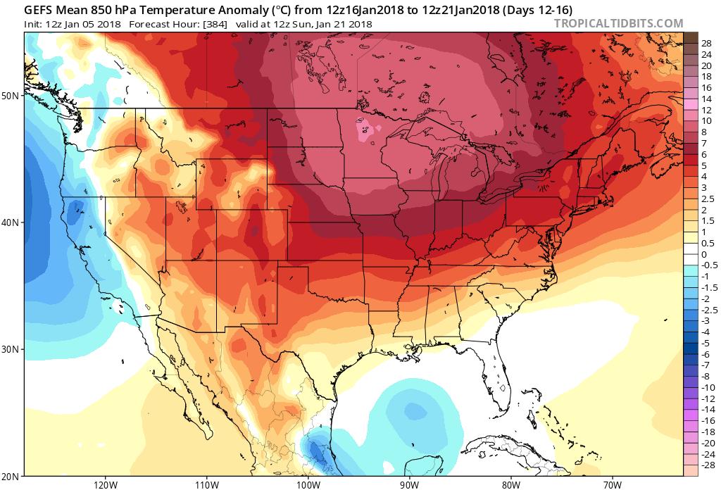 Long-range forecast map of 850 mb temperature anomalies by the 12Z GEFS averaged over the 5-day period of January 16-January 21 (i.e., days 12-16); courtesy NOAA/EMC, tropicaltidbits.com