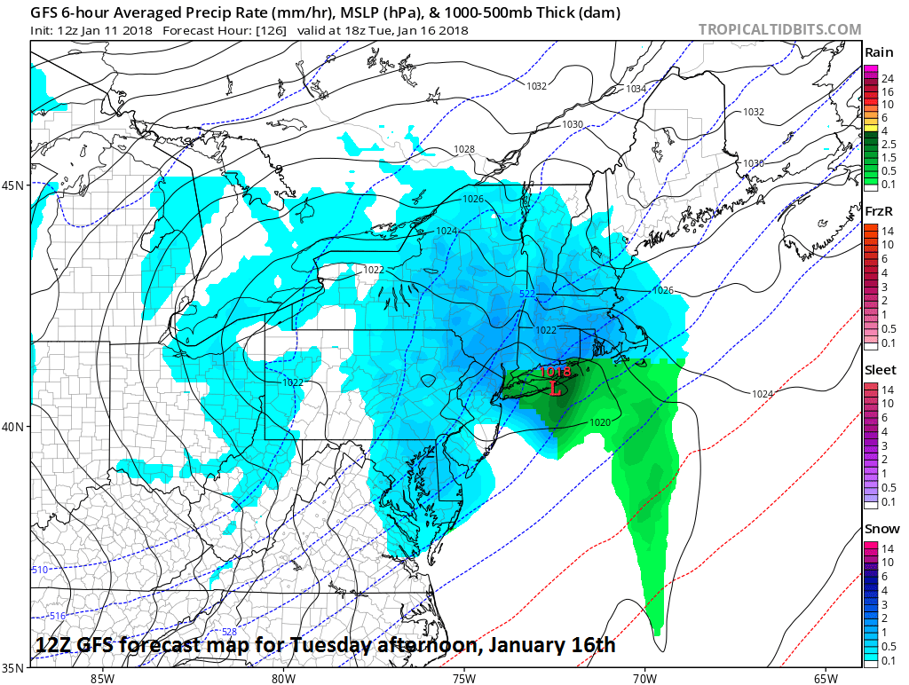 12Z GFS forecast map for Tuesday afternoon, January 16th with snow in blue; map courtesy NOAA/EMC, tropicaltidbits.com