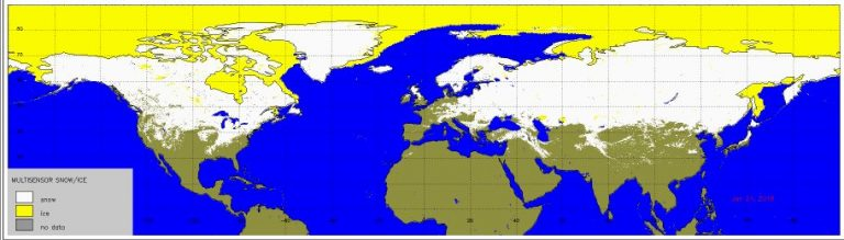 Snow cover (shown in white) is currently quite extensive across the Northern Hemisphere.