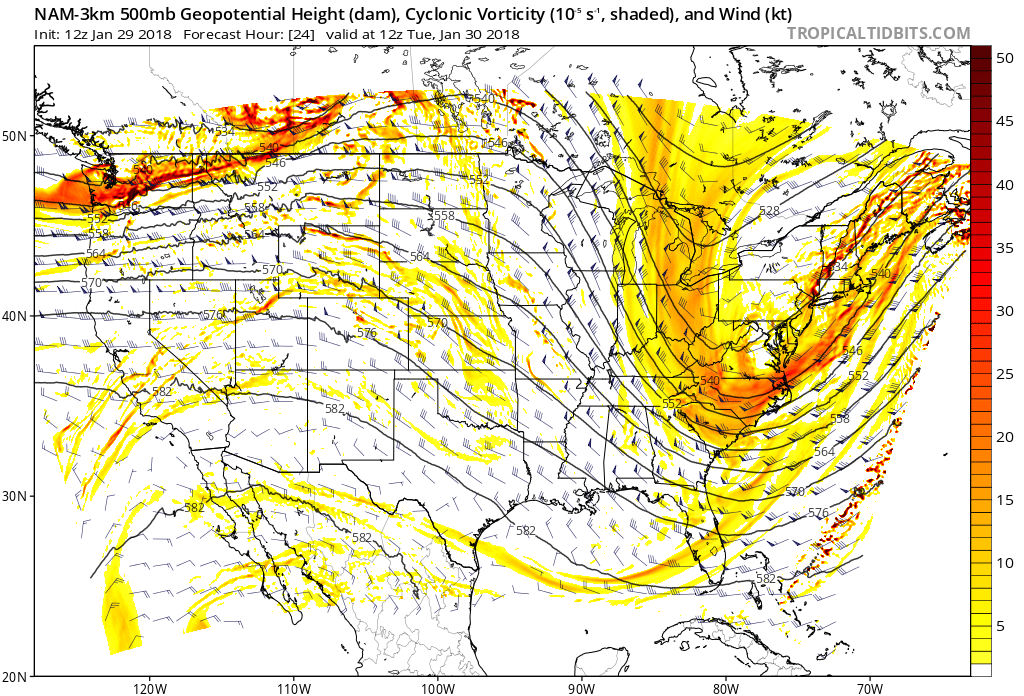 Upper-level (500 mb) forecast map by the 12Z NAM (3-km) for early Tuesday with vigorous energy over the Mid-Atlantic region; map courtesy NOAA/EMC, tropicaltidbits.com