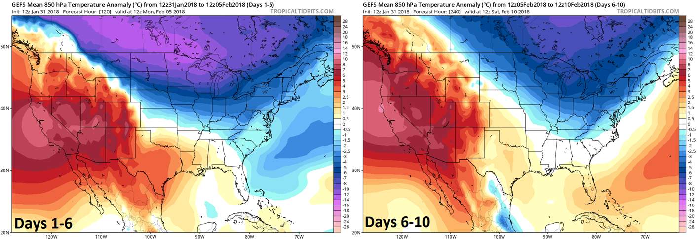 "12Z GEFS temperature anomalies at 850 mb (~5000 feet) averaged over 5-day increments with days 1-5 (left) and days 6-10 (right).  The coldest air ""relative-to-normal"" will stay to the north and west of the Mid-Atlantic region in this time period setting up a contrast with warmer areas to our south and east.  maps courtesy NOAA/EMC, tropicaltidbits.com"