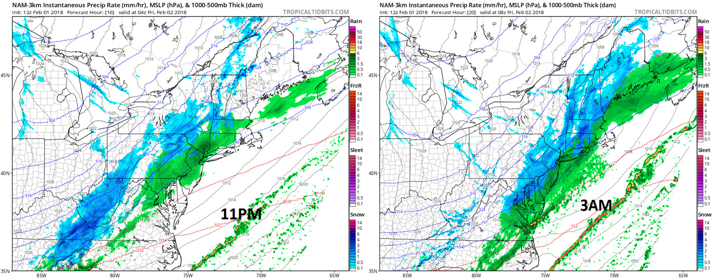 12Z NAM (3-km version) forecast maps at 11PM (left) and 3AM (right) with rain (green) in DC, Philly, NYC early and snow (blue) in the same areas late; maps courtesy NOAA/EMC, tropicaltidbits.com