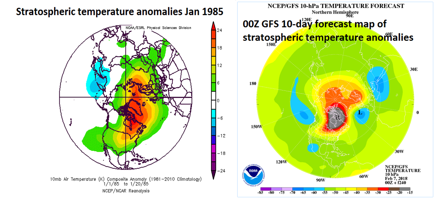 """Stratospheric temperature anomalies during January 1985 (left) and the 10-day forecast map for February 17th (right) with similar patterns of much above-normal temperatures on this side of the North Pole. These maps have a """"top-down"""" view of the Northern Hemisphere with the North Pole located right in the center and the US is positioned in the lower-central portion of each map. maps courtesy NOAA"""