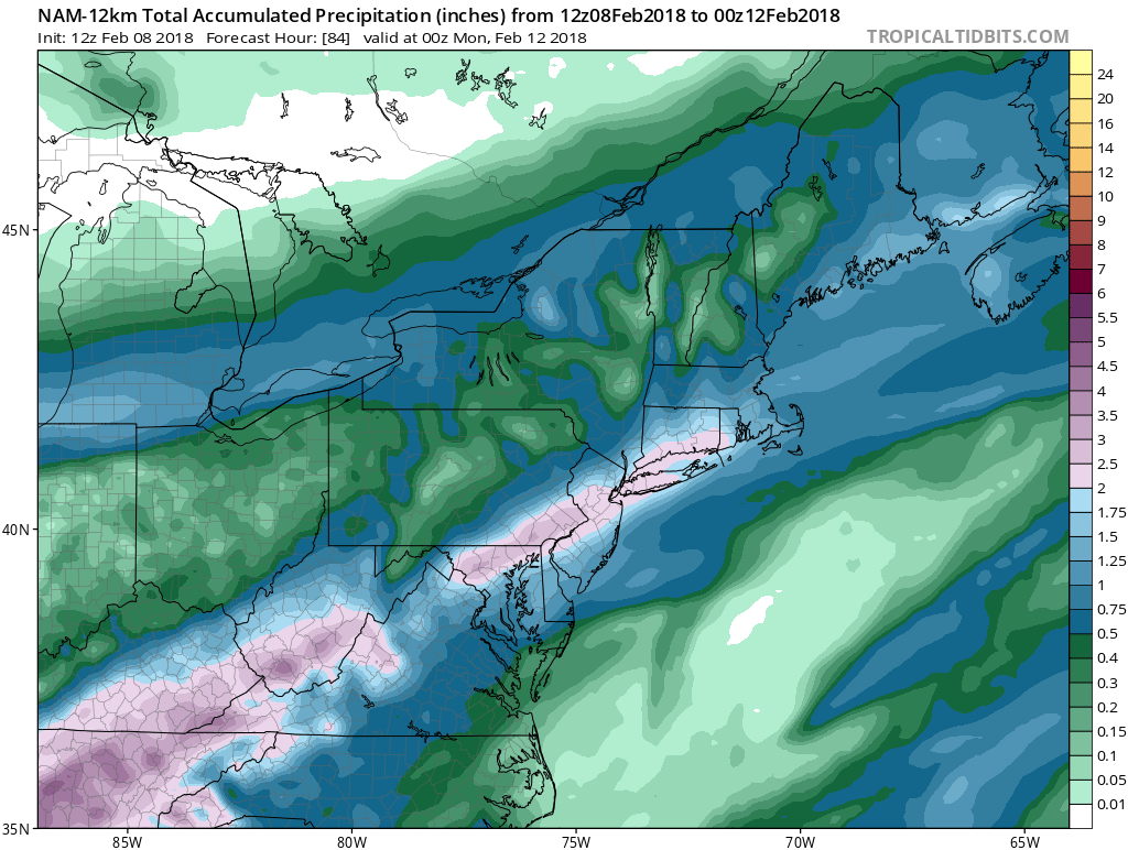 12Z NAM total rainfall forecast map for the upcoming rain event with two inches of rain (purple) predicted in much of the DC-to-Philly-to-NYC corridor by Sunday night; map courtesy NOAA/EMC, tropicaltidbits.com