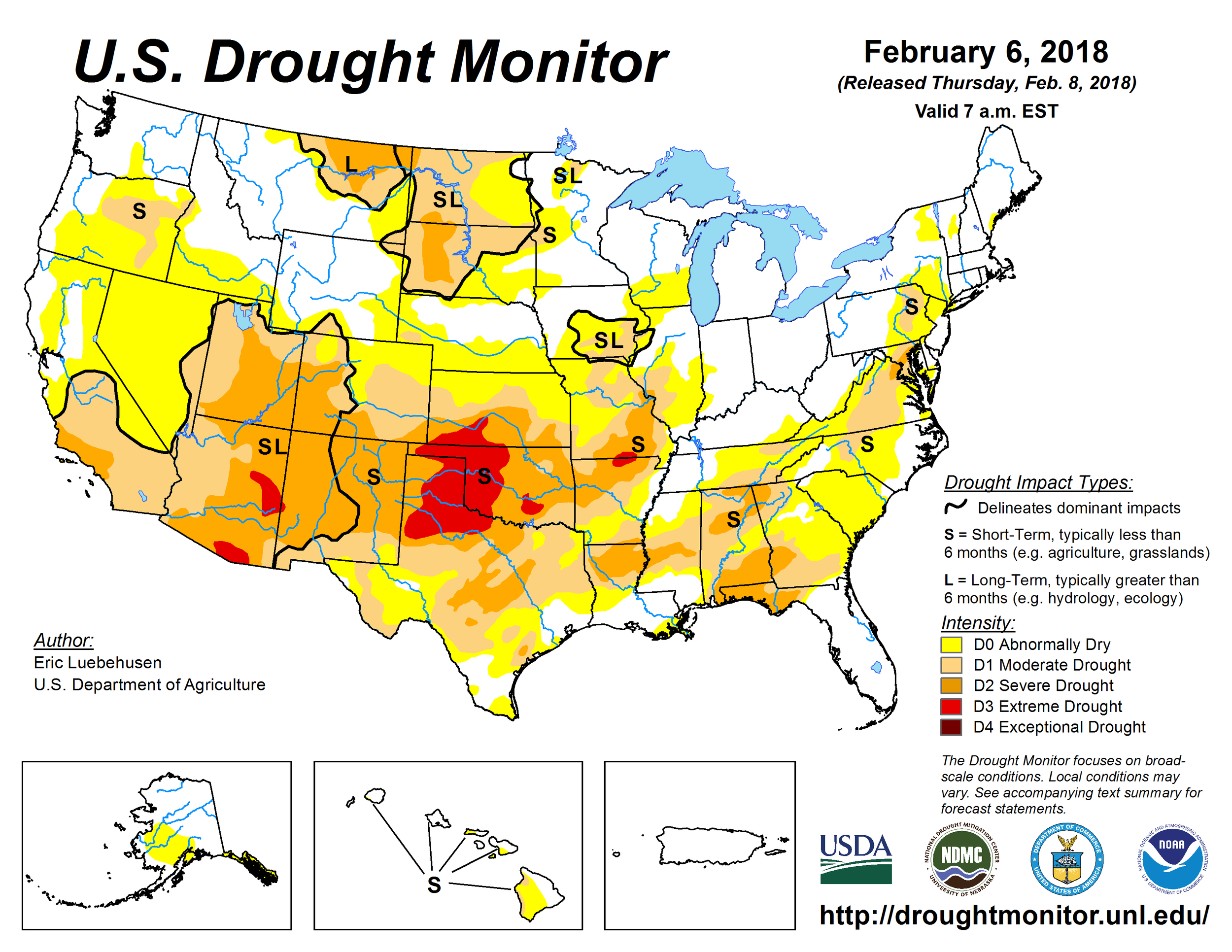 """US """"Drought Monitor"""" assessment map with moderate-to-severe drought conditions reported by NOAA in the DC metro region and """"abnormally dry"""" conditions in Philly and NYC; courtesy NOAA"""