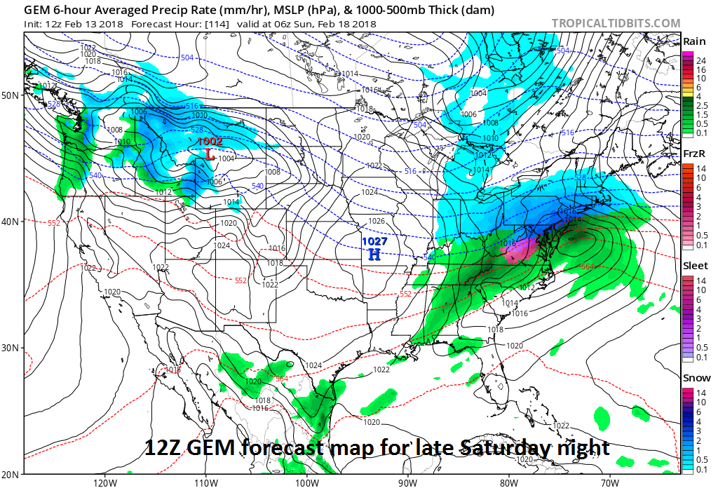 Canadian model features snow for much of the Mid-Atlantic region late Saturday; map courtesy NOAA/EMC, tropicaltidbits.com