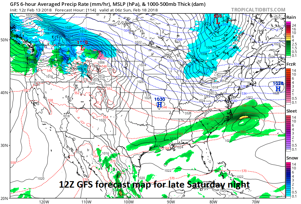 12Z GFS computer forecast map for late Saturday has no snow in the Mid-Atlantic region - but this is likely to change in coming days; map courtesy NOAA/EMC, tropicaltidbits.com
