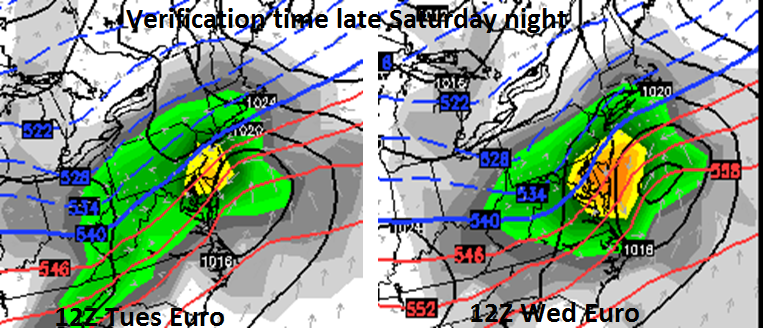 "The trend in the European computer forecast model during the last 24 hours has been slightly colder in the I-95 corridor and more ""juiced up"" with the weekend system (12Z Tues Euro left; 12Z Wed Euro right - verification time for both forecast maps is late Saturday night); maps courtesy WSI, Inc."
