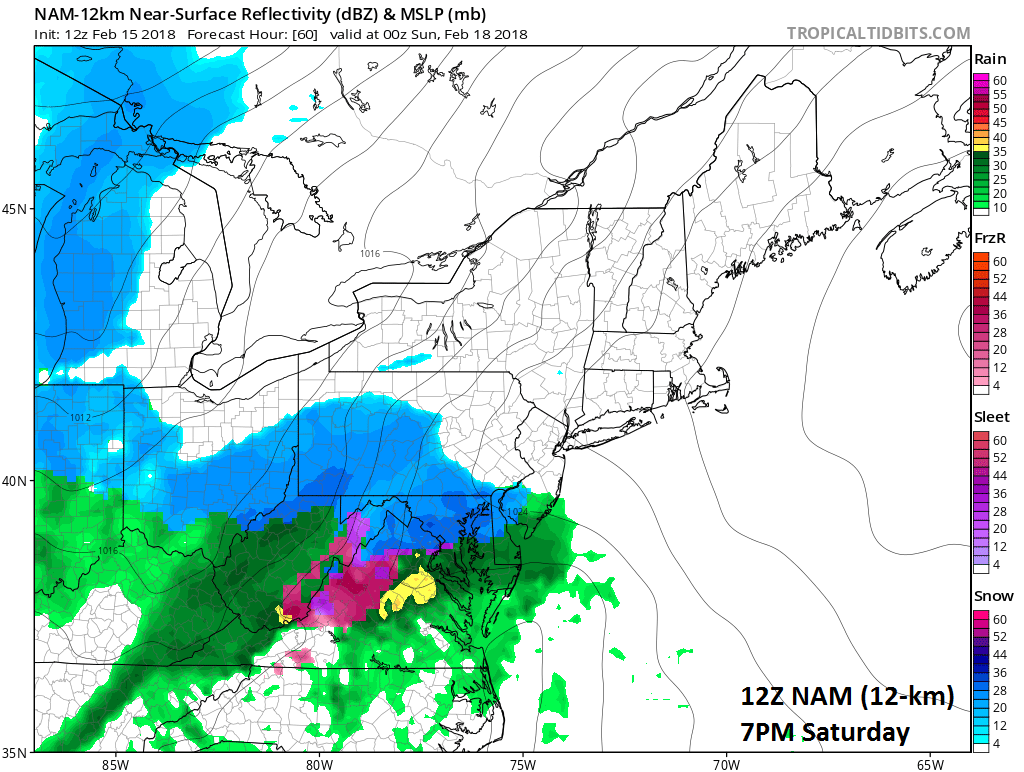 12Z NAM forecast map for 7PM Saturday evening (snow in blue, rain in green, ice in pink/purple); map courtesy NOAA/EMC, tropicaltidbits.com