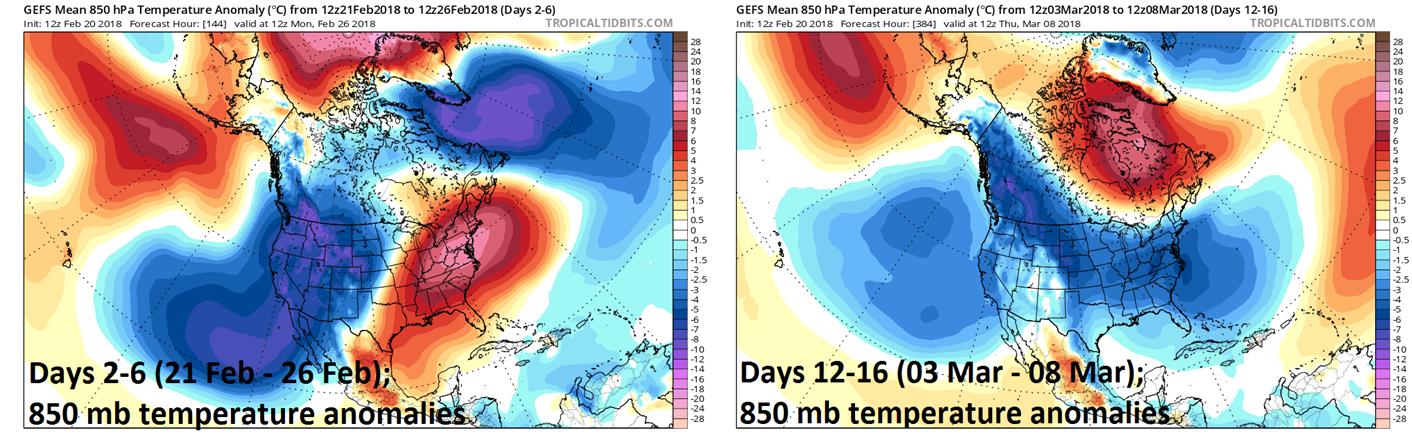 12Z GEFS forecast maps of 850 mb temperature anomalies averaged over 5 day periods with days 2-6 on left (warmer-than-normal in the eastern US) and days 12-16 on right (colder-than-normal across much of the nation); maps courtesy NOAA/EMC, tropicaltidbits.com
