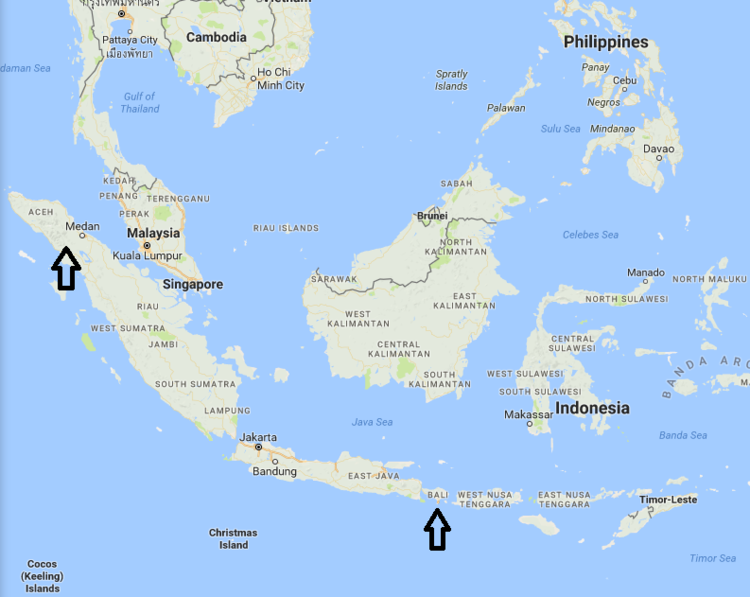 Map of Indonesia with arrows pointing to the locations of Mount Sinabung (left) and Mount Agung (right)