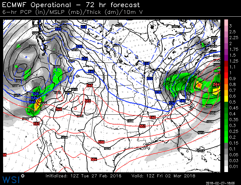 12Z Euro surface forecast map on Friday morning, March 2nd with strong low pressure off of the Mid-Atlantic coastline; map courtesy WSI, Inc.