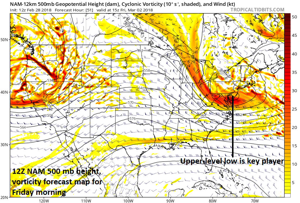 12Z NAM forecast map at 500 mb with the upper-level low situated over the Delmarva Peninsula/southern New Jersey on Friday morning; map courtesy NOAA/EMC, tropicaltidbits.com