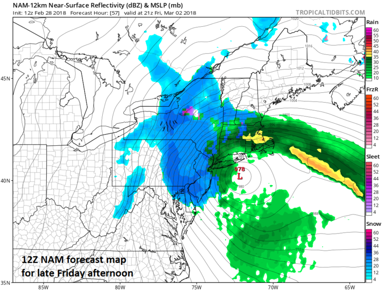 12Z NAM forecast map for later Friday afternoon with snow (in blue) and strong winds in much of the Mid-Atlantic/Northeast US; map courtesy NOAA/EMC, tropicaltidbits.com