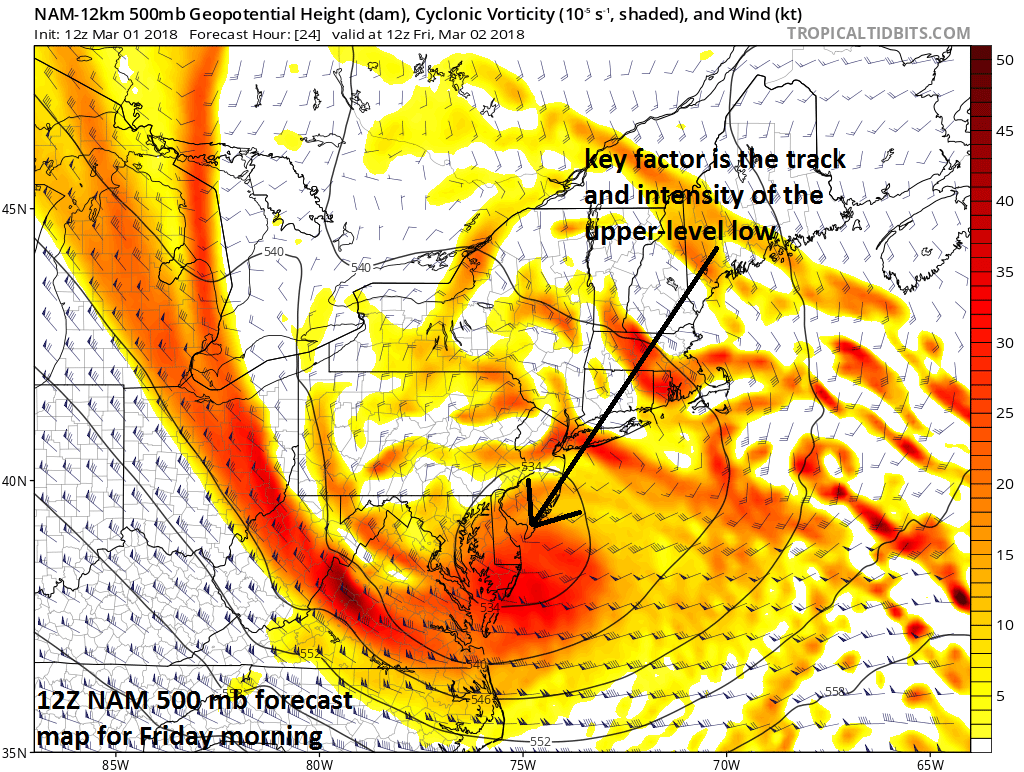 The track and intensity of the upper-level low is crucial in this setup for determining areas with the greatest chances for accumulating snow.  Typically, areas near and to the north of a closed-off upper-level low have the best chance for snow where upward motions are strong and temperatures are colder.  The 12Z NAM forecast map at 500 mb for tomorrow morning shows the upper-level low positioned over the Delmarva Peninsula/southern New Jersey; map courtesy NOAA/EMC, tropicaltidbits.com