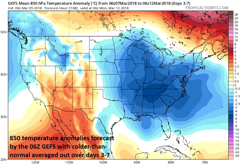 06Z GFS 850 mb temperature anomaly forecast map for days 3-7 (Wednesday-Sunday); map courtesy NOAA/EMC, tropicaltidbits.com