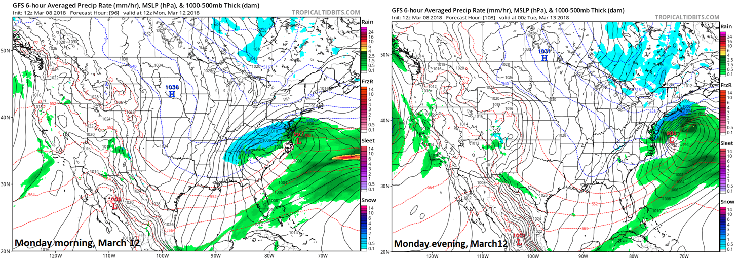12Z GFS operational model surface forecast maps for Monday morning (left) and Monday evening (right) with the next storm skirting the I-95 corridor; maps courtesy NOAA/EMC, tropicaltidbits.com