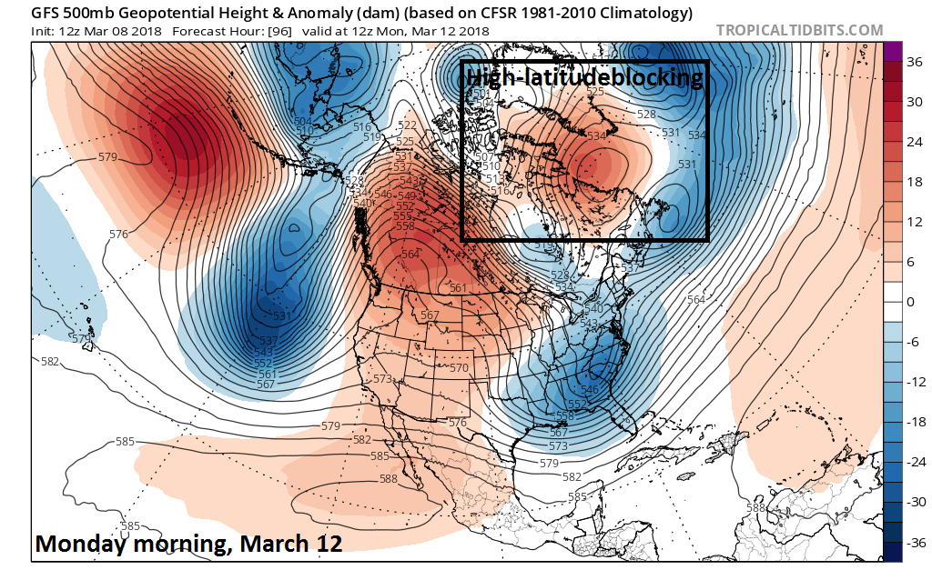12Z GFS 500 mb height anomaly forecast map for Monday morning with high-latitude blocking - a key factor -still in place across northern Canada (boxed region); map courtesy NOAA/EMC, tropicaltidbits.com