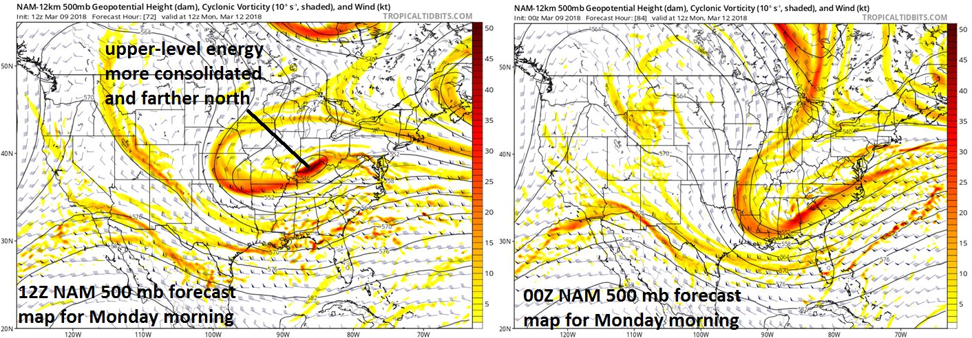 The latest NAM computer forecast model has consolidated and moved farther north the upper-level wave of energy on Monday morning compared to prior runs and this will be a key factor in the development of low pressure near the east coast. Map courtesy NOAA, tropicaltidbits.com