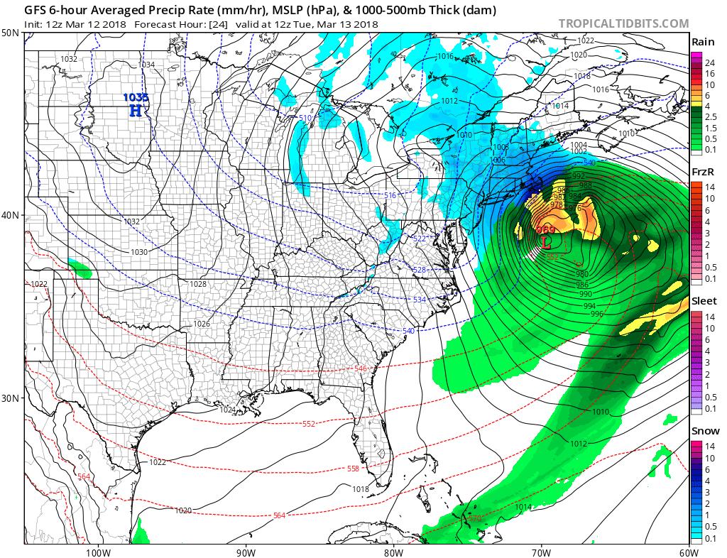 12Z GFS forecast map for Tuesday morning; courtesy NOAA/EMC, tropicaltidbits.com