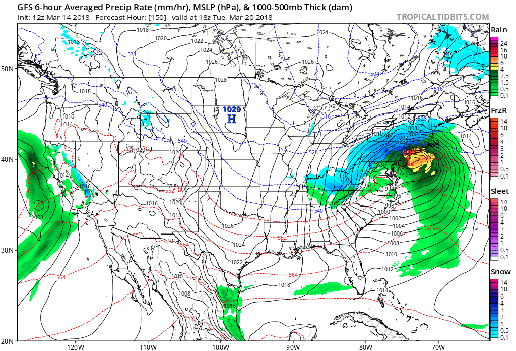 12Z GFS forecast map for next Tuesday afternoon, March 20, with yet another nor'easter in the making; map courtesy NOAA/EMC, tropicaltidbits.com