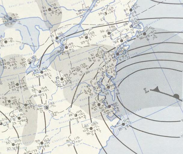 Surface map on March 20th, 1958; courtesy NOAA, Kocin and Uccellini (1990, 2004)