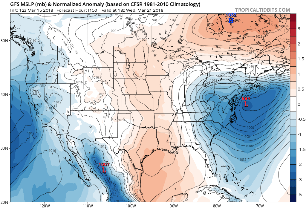 12Z Thursday GFS forecast map of mean sea level pressure anomaly for next Wednesday, March 21st with similar positioning compared to the March 1958 blizzard; courtesy NOAA/EMC, tropicaltidbits.com