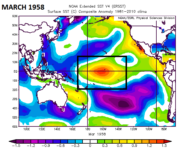 """""""Centrally-based"""" El Nino in the equatorial Pacific Ocean during March 1958 and there were two great snowstorms in the Mid-Atlantic region; courtesy NOAA"""