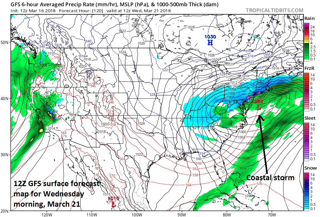 12Z GFS surface forecast map for Wednesday morning, March 21 (snow in blue;ice in red, purple;rain in green); map courtesy NOAA/EMC, tropicaltidbits.com