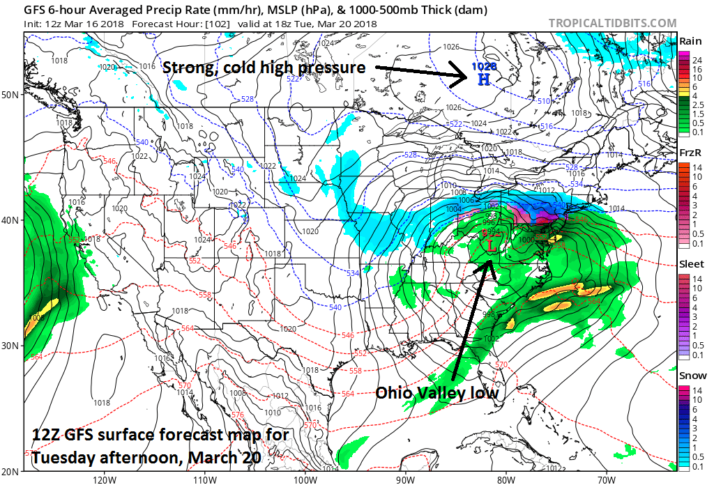 12Z GFS surface forecast map for Tuesday afternoon, March 20 (snow in blue;ice in red, purple;rain in green); map courtesy NOAA/EMC, tropicaltidbits.com