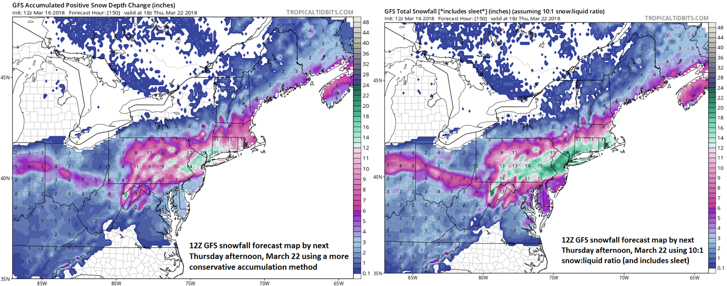 Snowfall estimates from the 12Z GFS for next week's event....take these with a grain of salt this far out. On the left, the snowfall accumulation amounts are estimated using a more conservative method compared to the map on the right which utilizes a 10:1 snow:liquid ratio (probably too high); map courtesy NOAA/EMC, tropicaltidbits.com