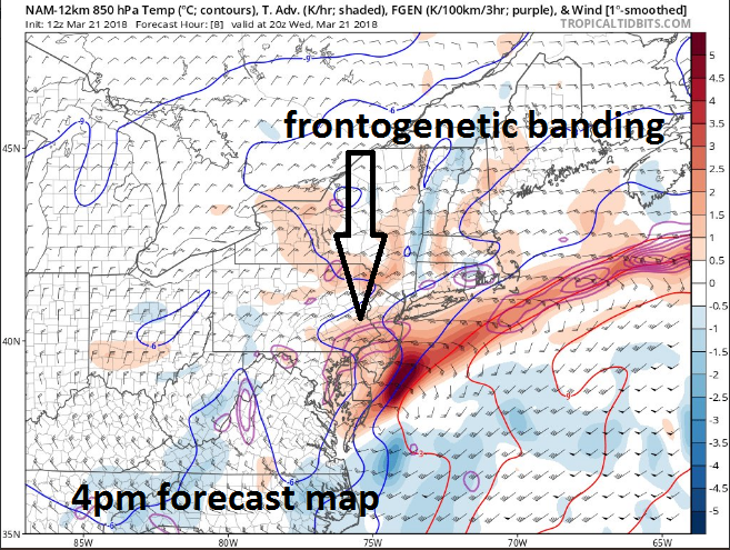 Frontogenesis  in the upper atmosphere will contribute to heavy snow banding this afternoon and evening; courtesy NOAA, tropicaltidbits.com
