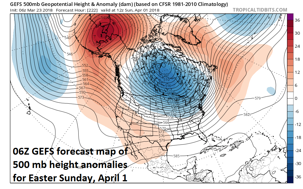 06Z GEFS forecast map of 500 mb height anomalies on Easter Sunday, April 1st with large area of below-normal heights centered over Canada and the northern US (blue) and the return of high-latitude blocking over Greenland (orange); courtesy NOAA/EMC, tropicaltidbits.com