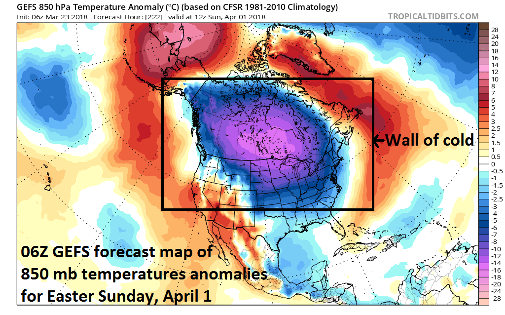 06Z GEFS forecast map of 850 mb temperature anomalies on Easter Sunday, April 1st with large area of colder-than-normal centered over Canada and the northern US; courtesy NOAA/EMC, tropicaltidbits.com