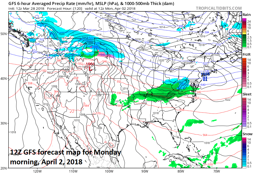 12Z GFS surface forecast map for Monday, April 2nd with low pressure pushing into the Mid-Atlantic region and snow is predicted (blue) in parts of the Mid-Atlantic region; map courtesy NOAA/EMC, tropicaltidbits.com