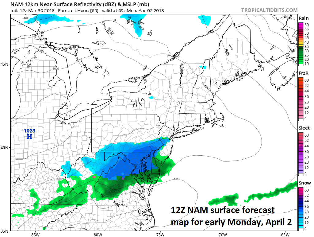 12Z NAM surface forecast map for early Monday morning with snow (in blue) in the Mid-Atlantic; map courtesy NOAA/EMC, tropicaltidbits.com