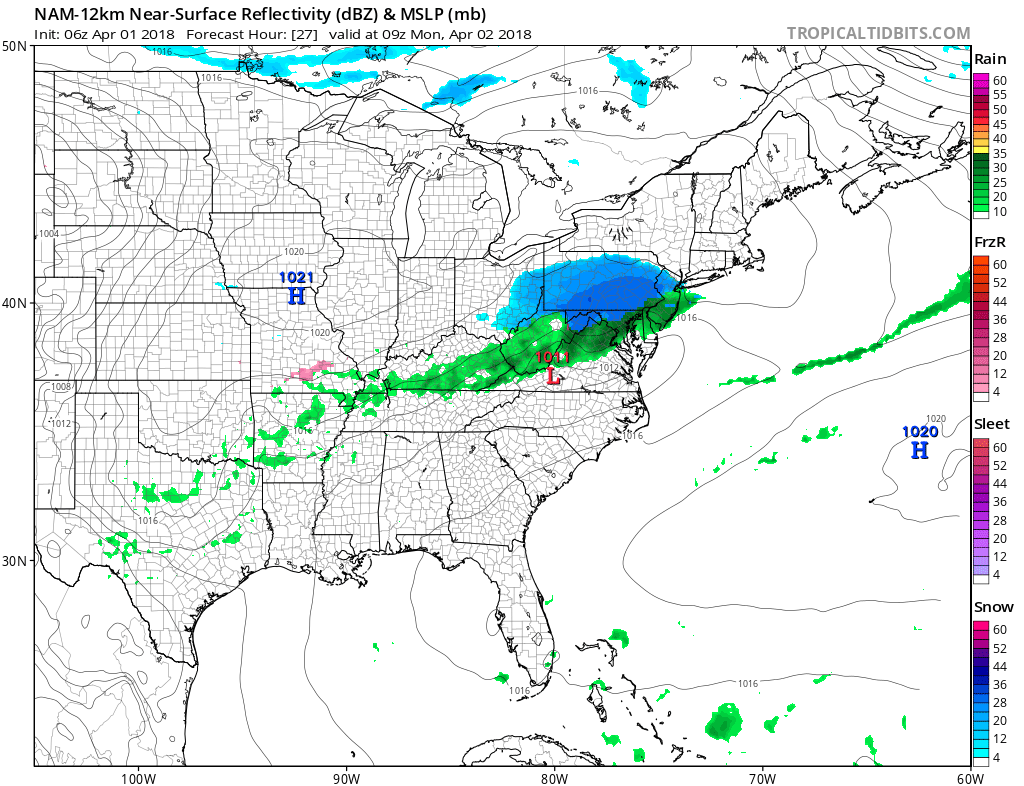 06Z NAM forecast map for early Monday morning with widespread snow (in blue) north of the PA/MD border; map courtesy NOAA/EMC, tropicaltidbits.com