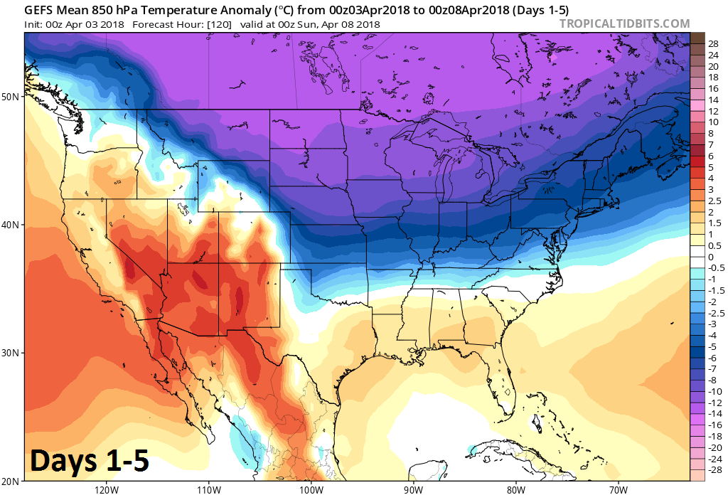 06Z GEFS forecast map of 850 mb temperature anomalies averaged over the current 5-day period (days 1-5); courtesy NOAA/EMC, tropicaltidbits.com