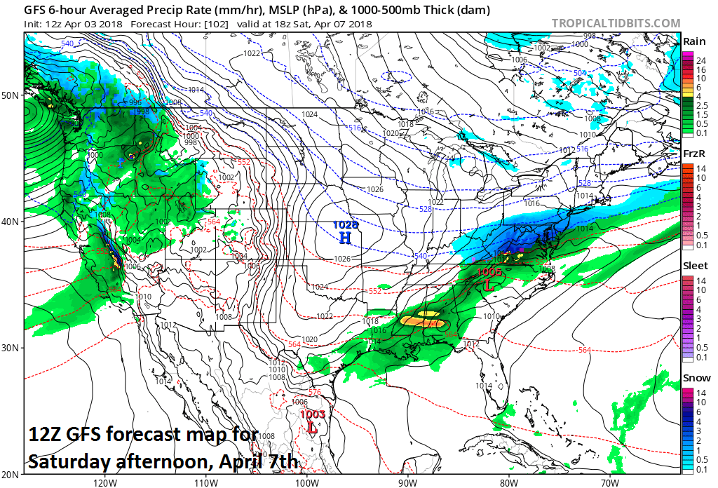 12Z GFS forecast map for Saturday afternoon with snow (blue) in the I-95 corridor; courtesy NOAA/EMC, tropicaltidbits.com