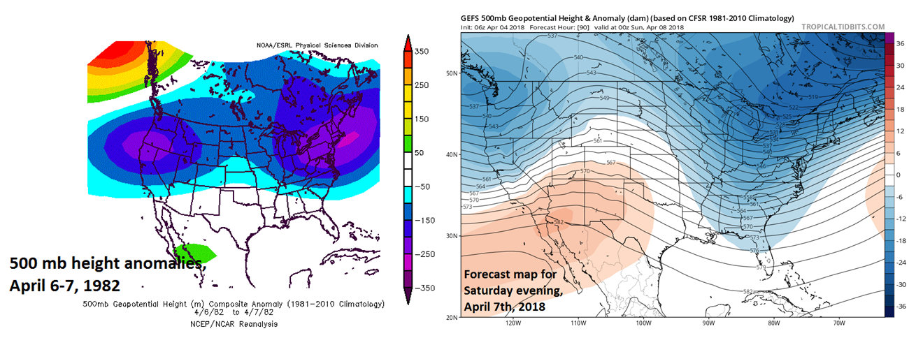 The 500 mb height anomaly pattern during the blizzard of April 6-7, 1982 (left) and the 06Z GEFS forecast map for this weekend with both featuring well below-normal heights centered over the Northeast US and the Pacific Northwest coastline; courtesy NOAA, tropicaltidbits.com