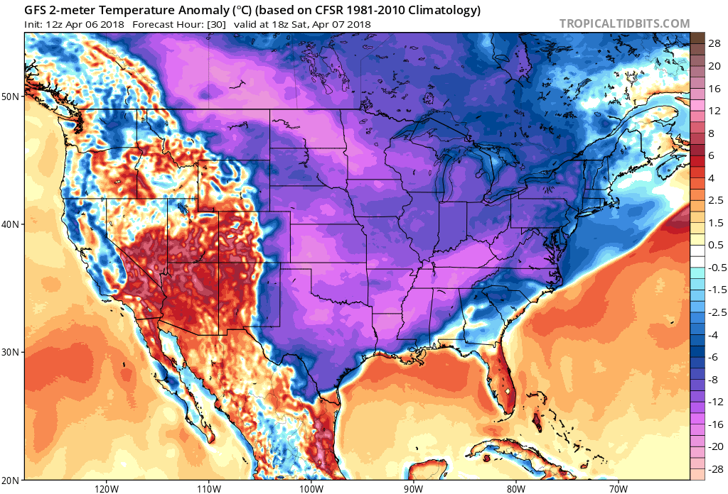 12Z GFS forecast map of 2-meter temperature anomalies for tomorrow afternoon with a widespread area of the eastern two-thirds of the nation well below-normal for this time of year; courtesy NOAA/EMC, tropicaltidbits.com